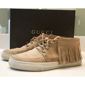 Gucci Light Tan Suede Tassel Sneakers